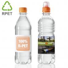 Bottiglia d'acqua con stampa | 500 ml | Tappo piatto colorato 100% R-PET